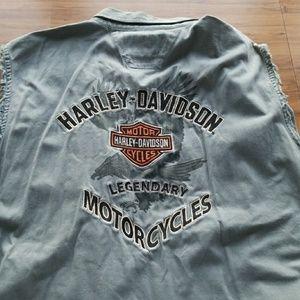 Harley Davidson Destroyed Grey embroidered tank